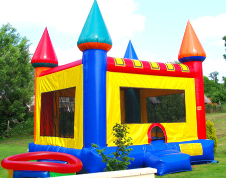 Bouncy castle in childrens play area